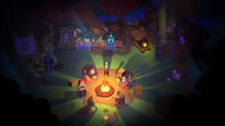 A screenshot from video game Ancient Abyss. Varied fantasy characters sit around a campfire.