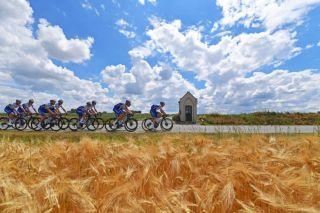 Members of the Deceuninck-QuickStep team train in Belgium ahead of the restart of the 2020 racing season