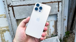 iphone 13 pro back in hand with wood background