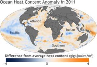 Heat in the ocean, 2011