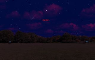 This sky map shows the location of Jupiter and the moon in the northwest evening sky on May 12, 2011, at 9 p.m. local time for observers in mid-northern latitudes.