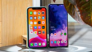 iPhone 11 (left) and OnePlus 7T