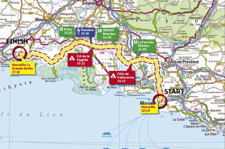 Tour de France 2009 stage 3 map