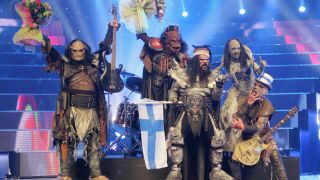 Monster rock band Lordi of Finland celebrate their victury at conclusion of the finals of the 2006 Eurovision Song Contest May 20, 2006 in Athens, Greece.