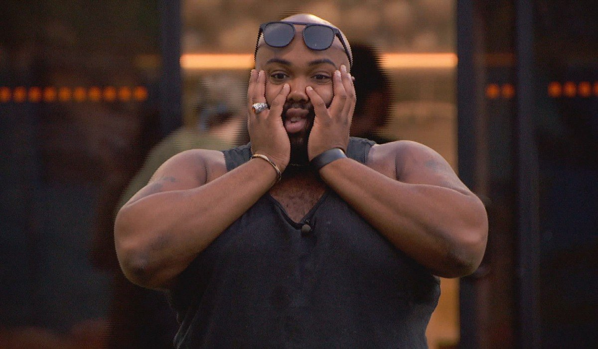 Derek F hands on his face Big Brother CBS