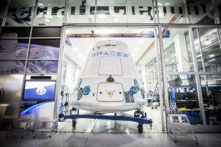 Dragon Capsule Leaving SpaceX Headquarters
