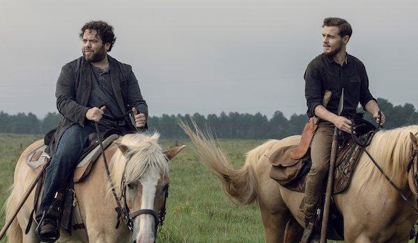 alden and luke riding horses on the walking dead midseason premiere