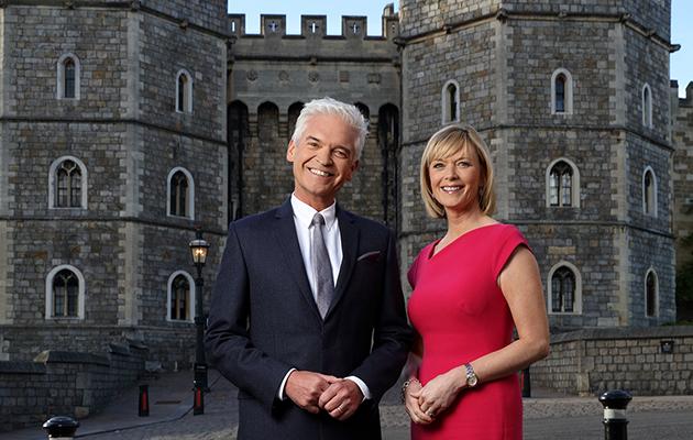 Phillip Schofield and Julie Etchingham outside Windsor Castle, as they front ITV's coverage of Meghan and Harry's wedding on Saturday 19th May
