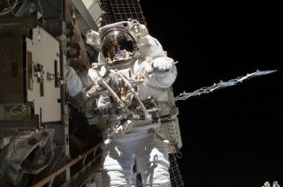 Steve Swanson on spacewalk