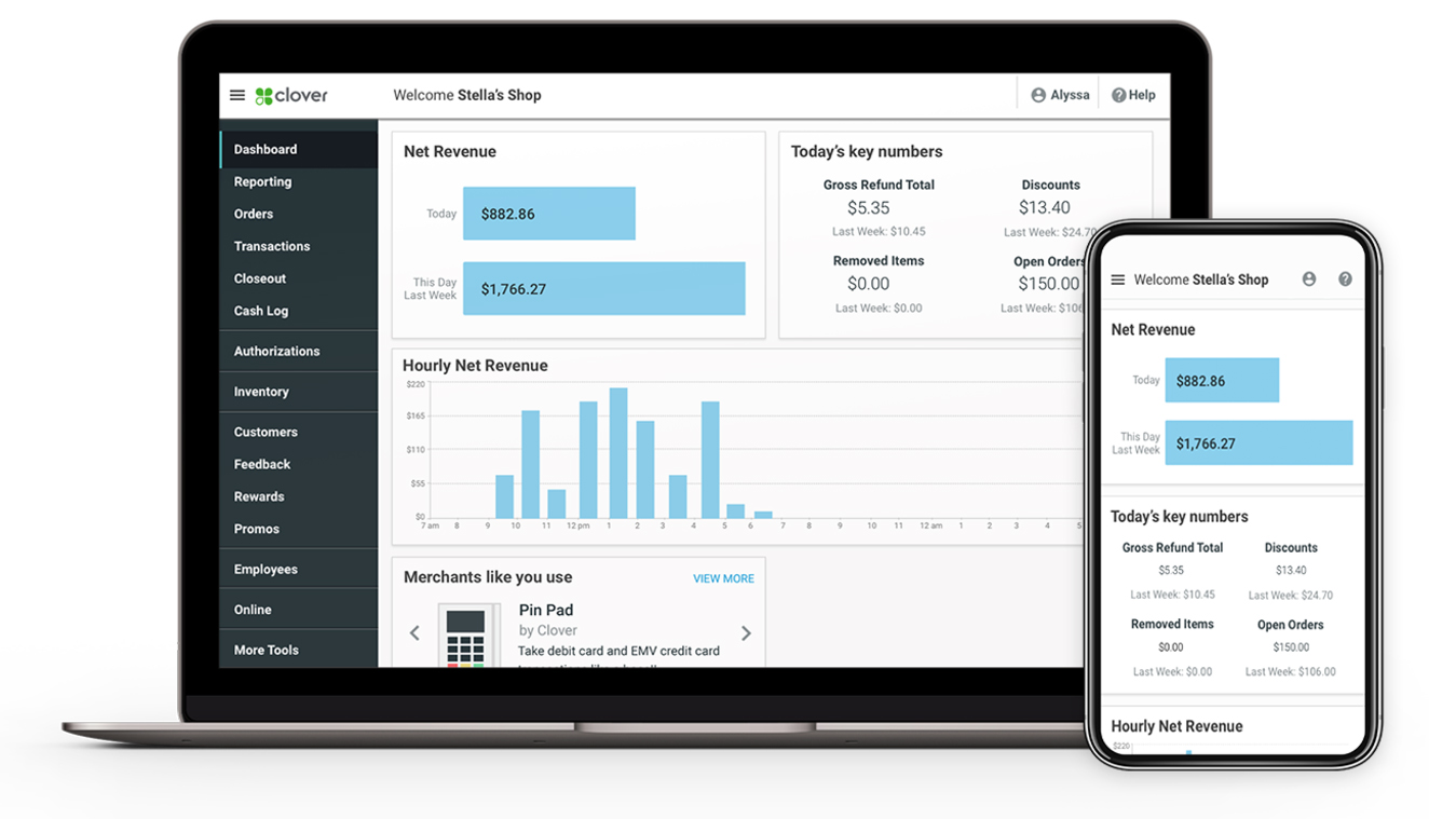 Clover POS offers a range of inventory and reporting options