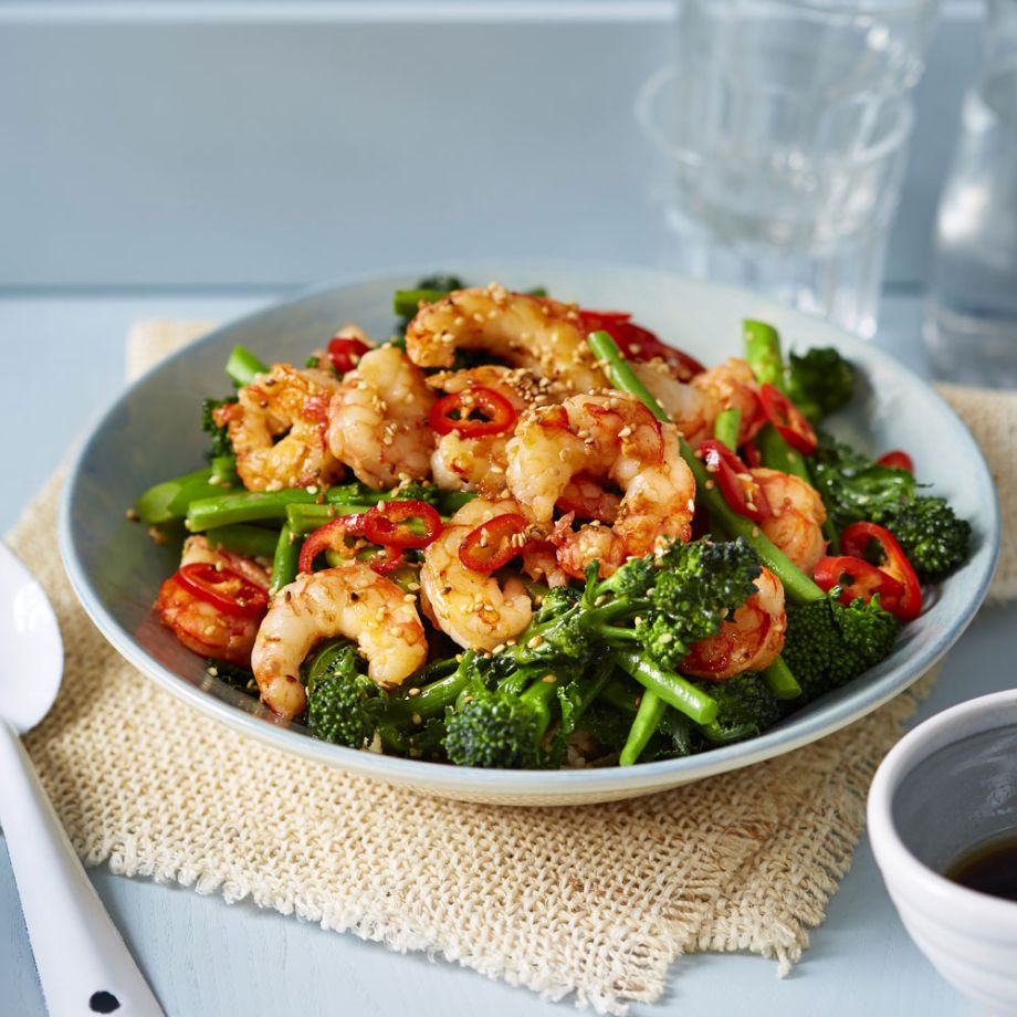 Easy Rice Bowls with Prawns and Broccoli