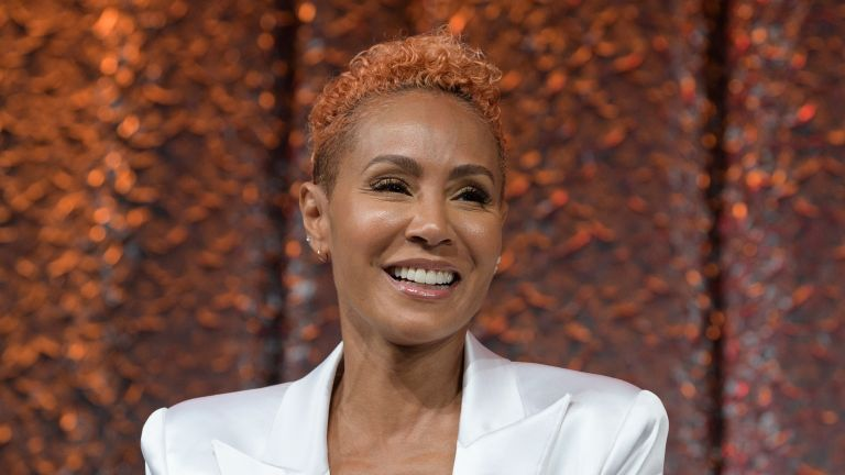 Jada Pinkett Smith speaks on stage during NATPE Miami 2020 - Facebook with Gloria, Emily and Lili Estefan at Fontainebleau Hotel on January 22, 2020 in Miami Beach, Florida
