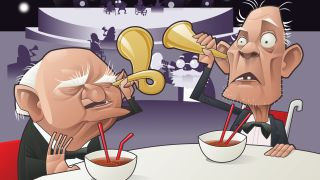 cartoon of two old men with ear trumpets