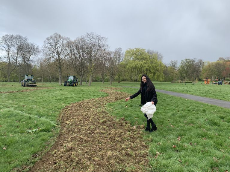 Krupa Sheth sowing seeds on the bee corridor. (Brent Council)