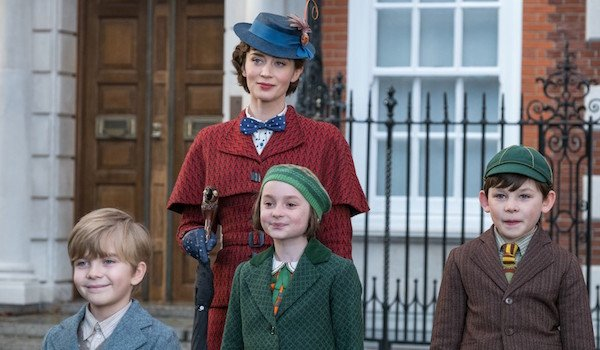 The Banks children and Emily Blunt as Mary Poppins in the 2018 musical film