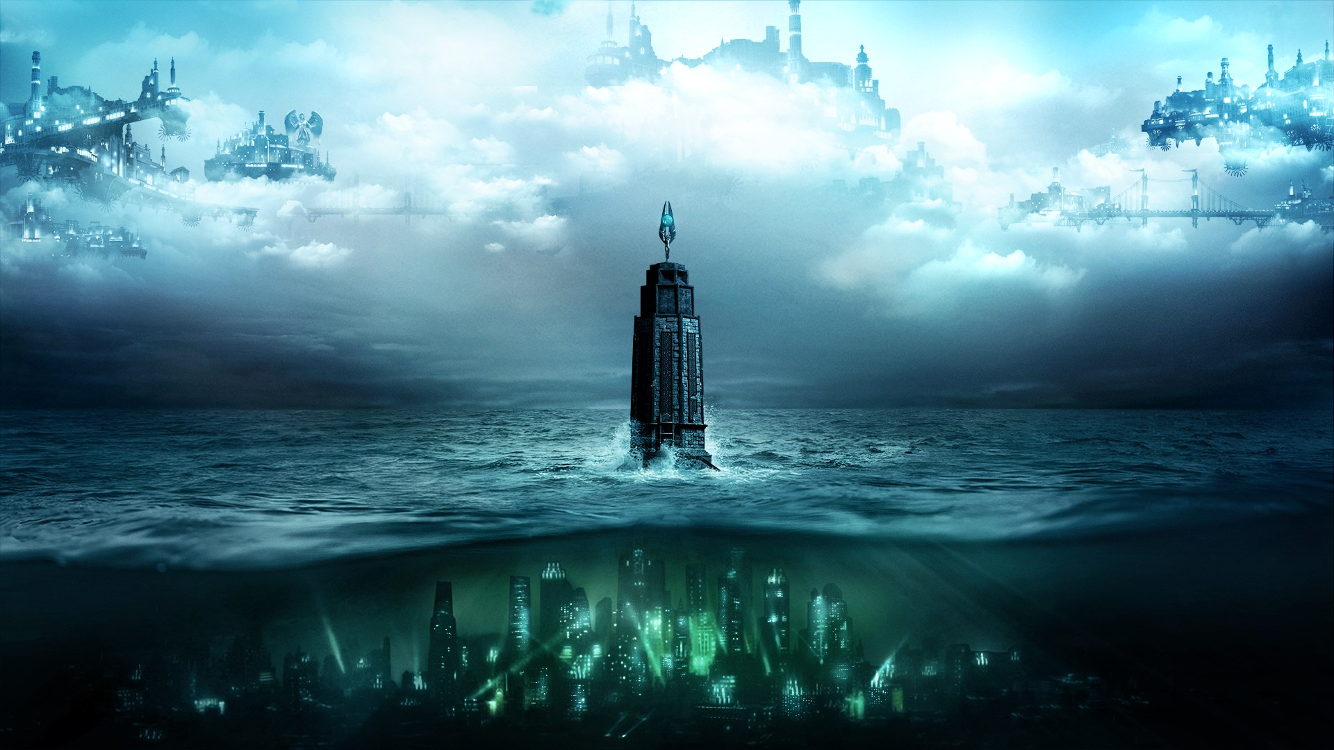 Bioshock lighthouse centered in the ocean between the undersea city of Rapture and the cloud city of Columbia