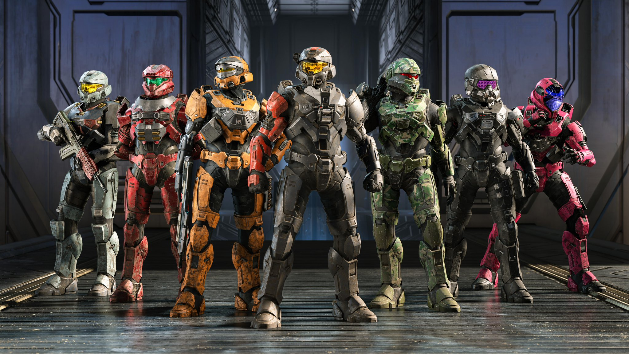 A lineup of Halo Infinite customisations