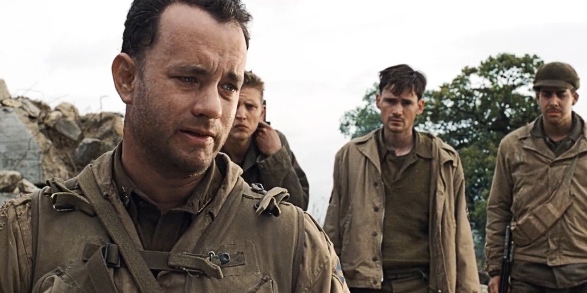 Tom Hanks, Barry Pepper, Jeremy Davies, and Adam Goldberg in Saving Private Ryan