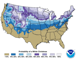 Probabilities for a white Christmas based on data from 1981-2010 using stations with at least 25 years or more of snow data. White Christmas is defined in this map as 1 inch or more of snow depth on Christmas Day.