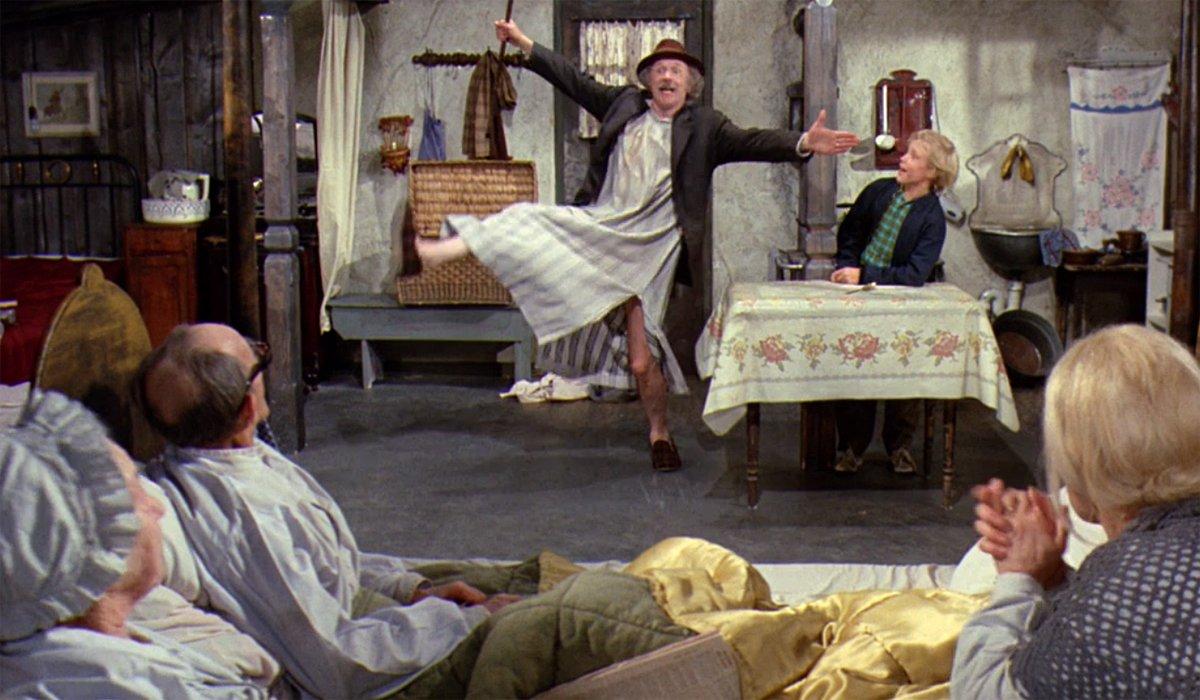 Selfish Grandpa Joe dances around the shack for himself