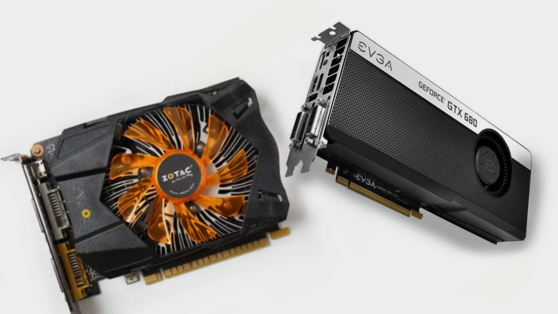 Two Nvidia GeForce GTX 600 series cards side by side on grey