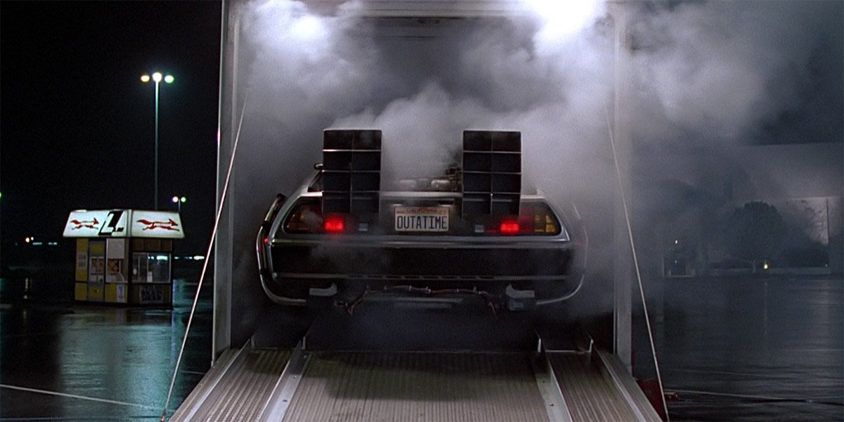 DeLorean Time Machine backs out of truck in Back To The Future
