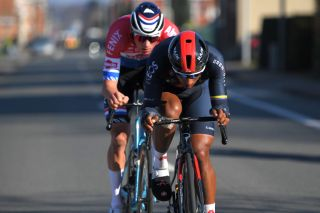 Jhonatan Narvaez on the attack with Mathieu van der Poel at Kuurne-Brussel-Kuurne