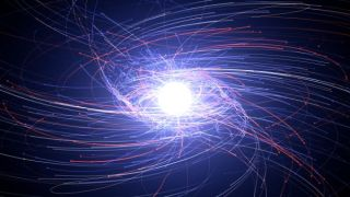 Electrons and their antimatter counterparts, positrons, interact around a neutron star in this visualization. Why is there so much more matter than antimatter in the universe we can see?