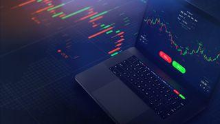 Futuristic stock exchange scene