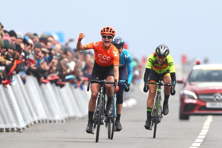 Marianne Vos winning the final stage and the overall in the 2019 women's Tour de Yorkshire