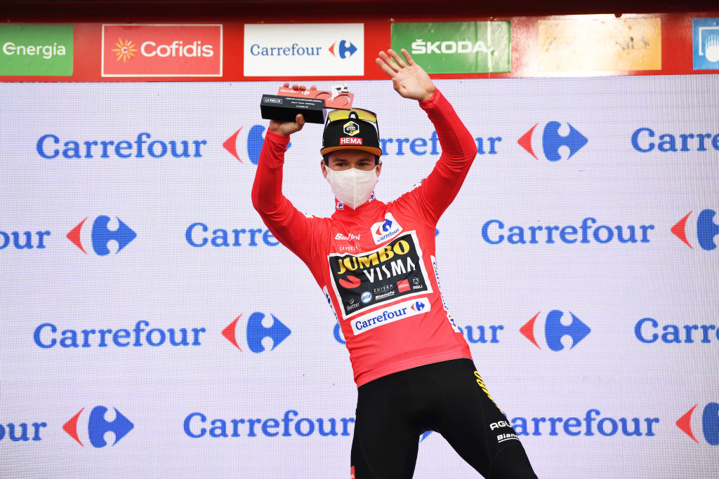 SABIANIGO SPAIN OCTOBER 24 Podium Primoz Roglic of Slovenia and Team Jumbo Visma Red Leader Jersey Celebration Trophy during the 75th Tour of Spain 2020 Stage 5 a 1844km Huesca to Sabinigo 835m lavuelta LaVuelta20 La Vuelta on October 24 2020 in Sabinigo Spain Photo by David RamosGetty Images