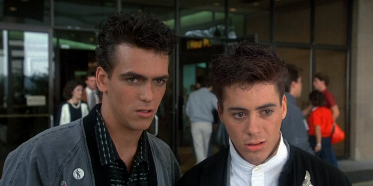 Robert Rusler and Robert Downey Jr. in Weird Science