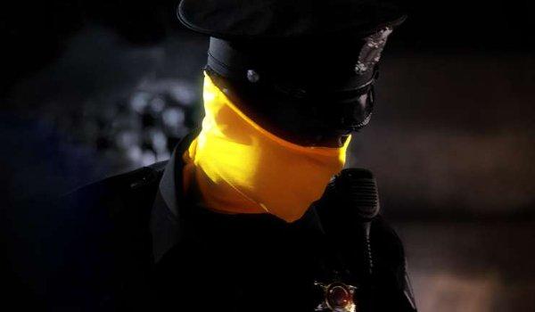 Watchmen a masked police officer on patrol