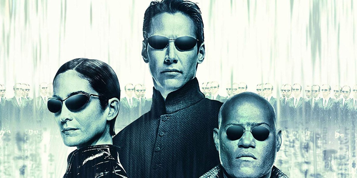 The Matrix Revolutions Trinity, Neo, and Morpheus in front of a ton of Agent Smiths