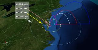 This map shows the projected area where the five ATREX rockets should be visible after launch.