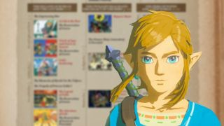 Link stands in front of the Legend of Zelda timeline.