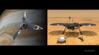Artist's depictions of the Juno mission at Jupiter and the InSight lander on Mars.