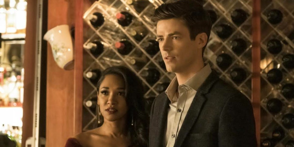 Iris West (Candice Patton) and Barry Allen (Grant Gustin) in The Flash.