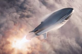 The Big Falcon Rocket would have three fins and a retractable forward wing, according to an illustration of the rocket's design released by SpaceX's Elon Musk.