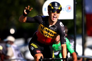 PARIS FRANCE JULY 18 Van Aert of Belgium and Team JumboVisma celebrates at arrival during the 108th Tour de France 2021 Stage 21 a 1084km stage from Chatou to Paris Champslyses LeTour TDF2021 on July 18 2021 in Paris France Photo by Michael SteeleGetty Images
