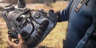 A Power Armor helmet in Fallout 76.