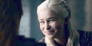 Emilia Clarke Daenerys Targaryen smiles to Sansa Game of Thrones Season 8 HBO
