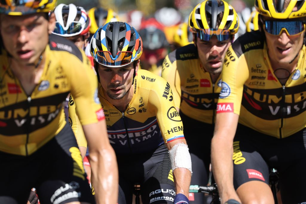 Team Jumbo rider Slovenias Primoz Roglic 2nd rides in the pack during the 8th stage of the 107th edition of the Tour de France cycling race 140 km between CazeressurGaronne and Loudenvielle on September 5 2020 Photo by KENZO TRIBOUILLARD AFP Photo by KENZO TRIBOUILLARDAFP via Getty Images