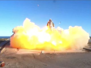SpaceX's Starship SN8 prototype launches on its first high-altitude test flight from Boca Chica, Texas on Dec. 9, 2020.