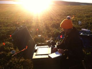 Sun shining on permafrost, global warming, carbon