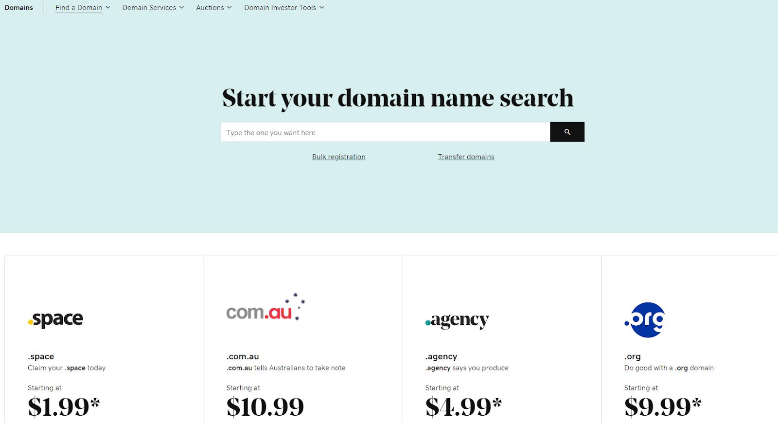 GoDaddy's domain name search webpage