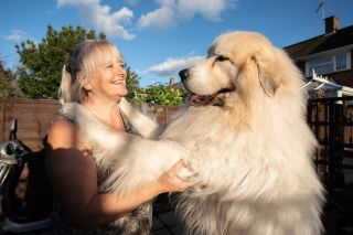 Susan with her Pyrenean Sheepdog Boris in Big Dog Britain