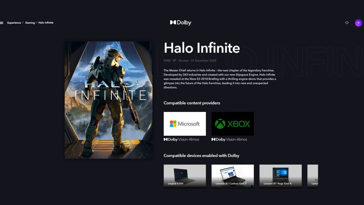 Halo Infinite Dolby Vision and Dolby Atmos support