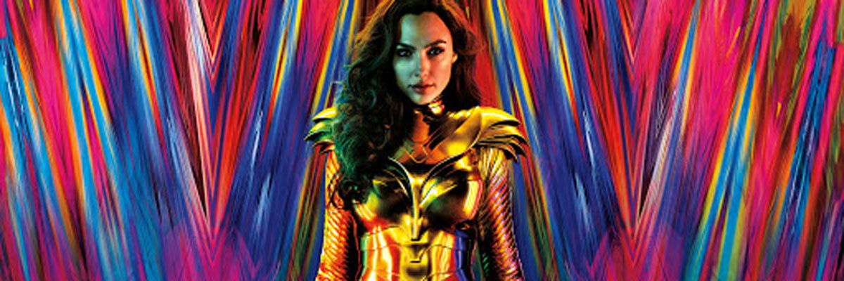 Gal Gadot with a vibrant background for Wonder Woman 1984