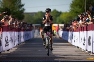 Amity Rockwell was in disbelief as she crossed the line for the win after working her way up through the women's field.